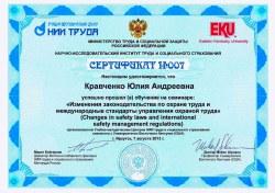 образцы сертификатов и дипломов о прохождении обучения в НИИ труда